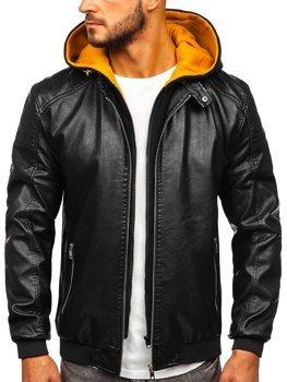 Мужская кожаная куртка с капюшоном черно-желтая Bolf 6132