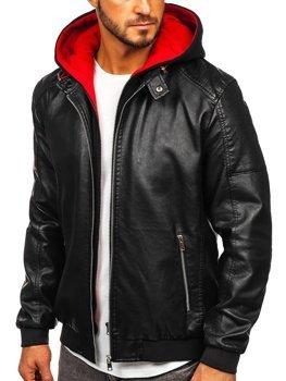 Мужская кожаная куртка с капюшоном черно-красная Bolf 6132
