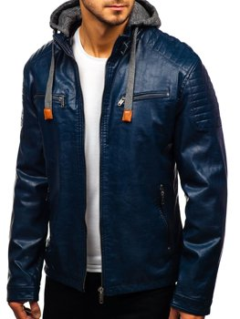 Мужская кожаная куртка темно-синяя Bolf ex708