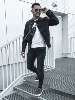 Мужская кожаная куртка черная Bolf 1073