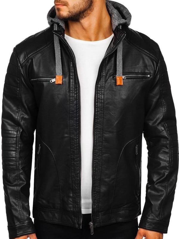 Мужская кожаная куртка черная Bolf EX707