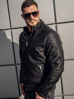 Мужская кожаная утепленная куртка черная Bolf 92535