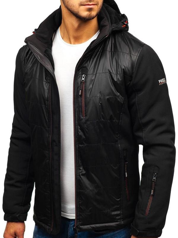 Мужская куртка софтшелл черно-красная Bolf 5633