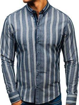 Мужская рубашка в полоску с длинным рукавом темно-синяя Bolf 8836