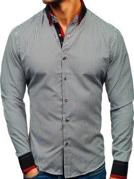Мужская рубашка в полоску с длинным рукавом черно-белая Bolf 2751