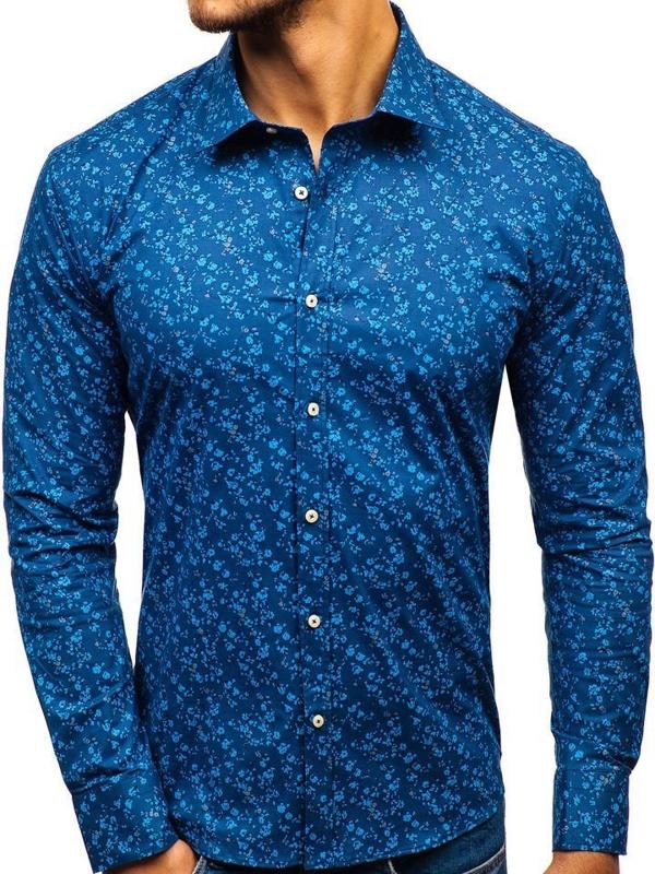 Мужская рубашка с узором с длинным рукавом темно-синяя 300G6