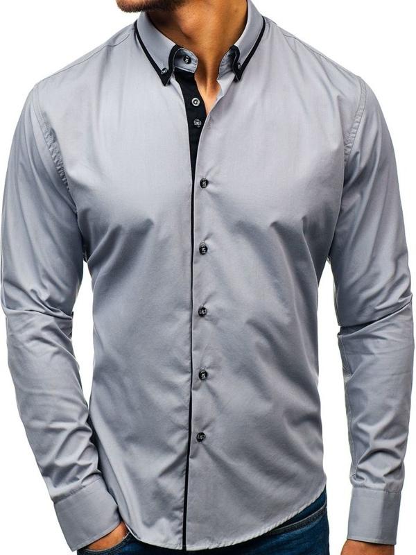 Мужская элегантная рубашка с длинным рукавом серая Bolf 8831