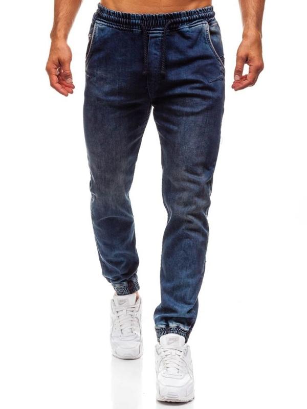 Мужские джинсовые брюки джоггеры темно-синие Bolf 708