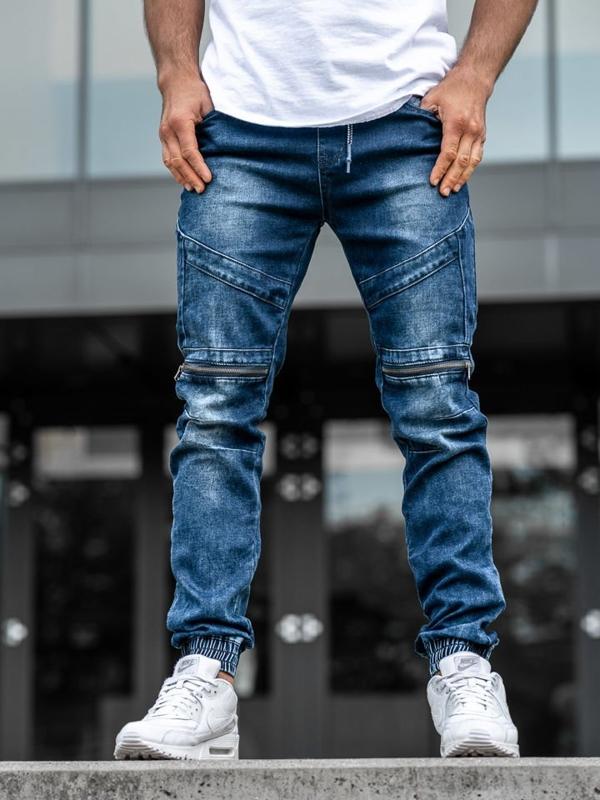 Мужские джинсовые брюки джоггеры темно-синие Bolf  KA576