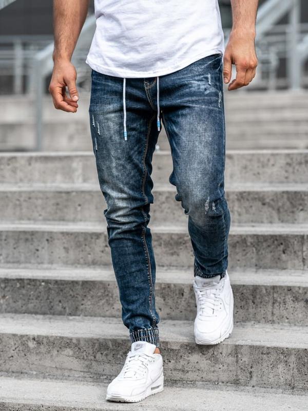 Мужские джинсовые брюки джоггеры темно-синие Bolf  KA679