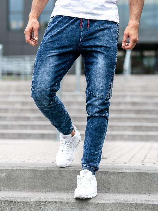 Мужские джинсовые брюки джоггеры темно-синие Bolf KK1021