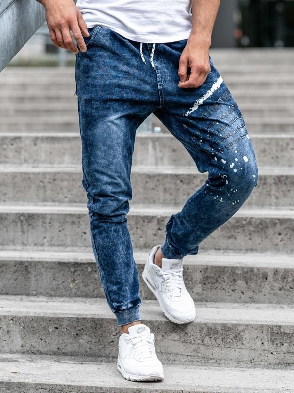 Мужские джинсовые брюки джоггеры темно-синие Bolf KK1038