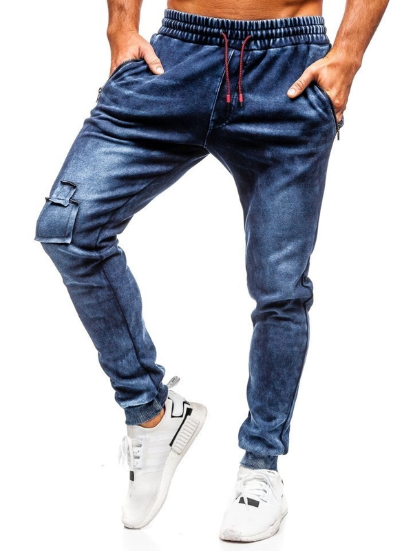 Мужские джинсовые брюки джоггеры темно-синие Bolf  KK1062