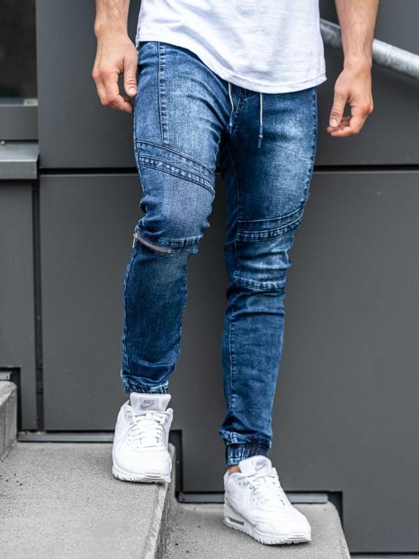 Мужские джинсовые брюки джоггеры темно-синие Bolf KS565