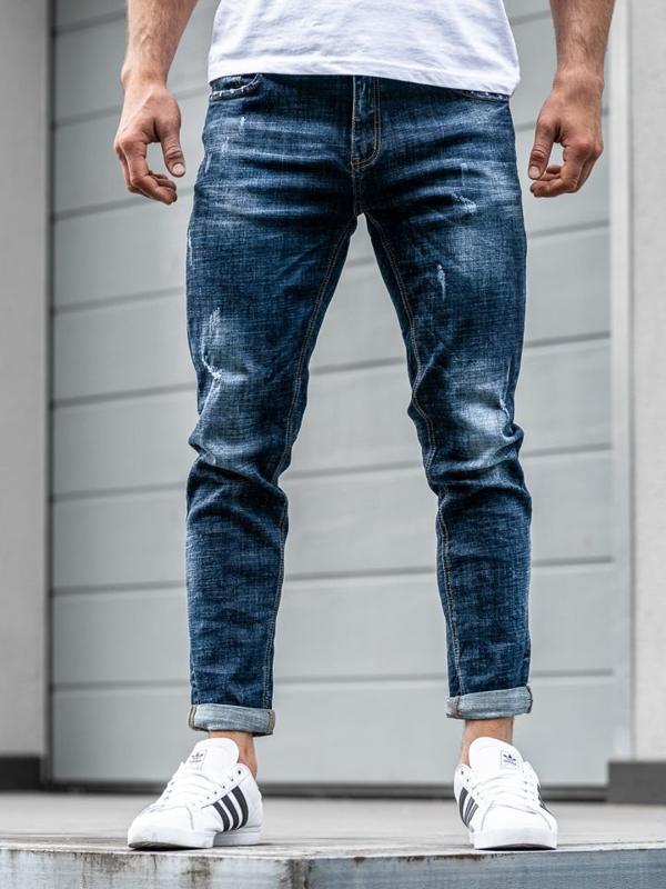 Мужские джинсовые брюки джоггеры темно-синие Bolf KX271