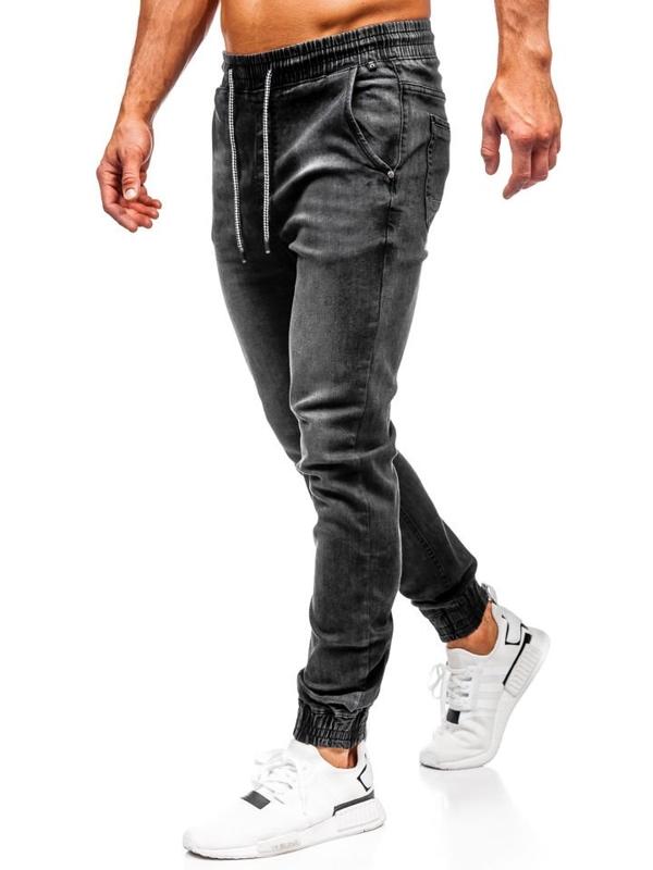 Мужские джинсовые брюки джоггеры черные Bolf  KA1073