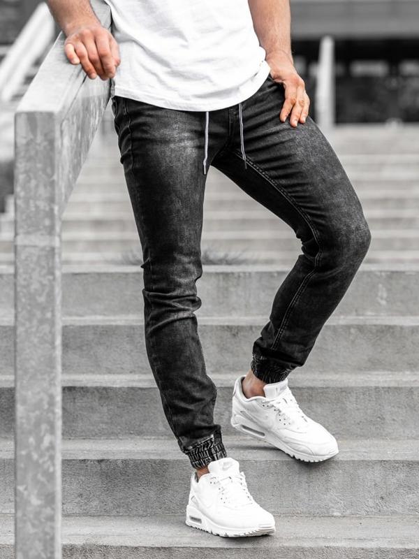 Мужские джинсовые брюки джоггеры черные Bolf  KA1075