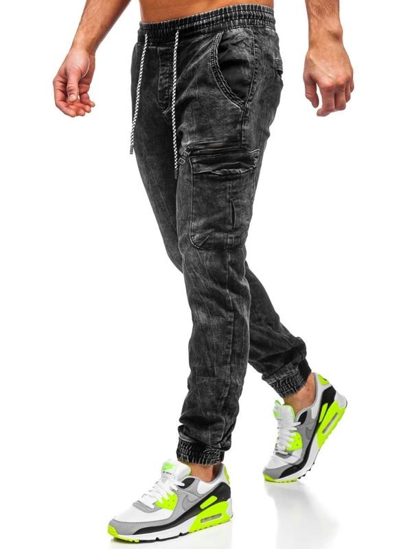 Мужские джинсовые брюки джоггеры черные Bolf  KA687-2