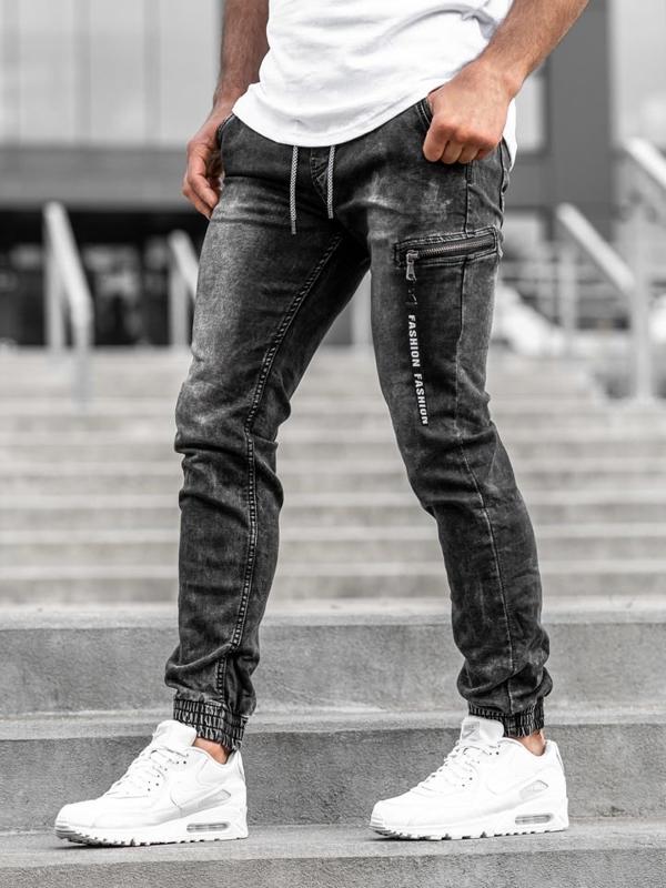 Мужские джинсовые брюки-джоггеры черные Bolf KA689-3