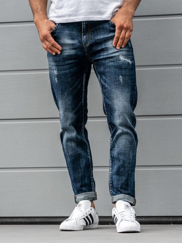 Мужские джинсовые брюки темно-синие Bolf KX273