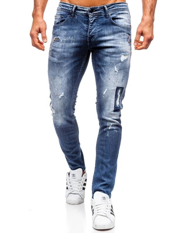 Мужские джинсовые брюки regular fit темно-синие Bolf 4012