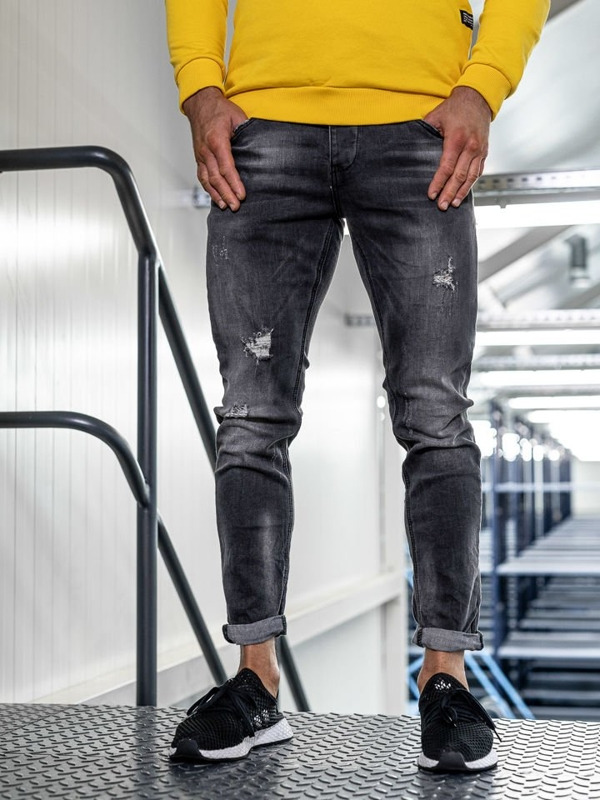 Мужские  джинсовые брюки slim fit черные Bolf KX318