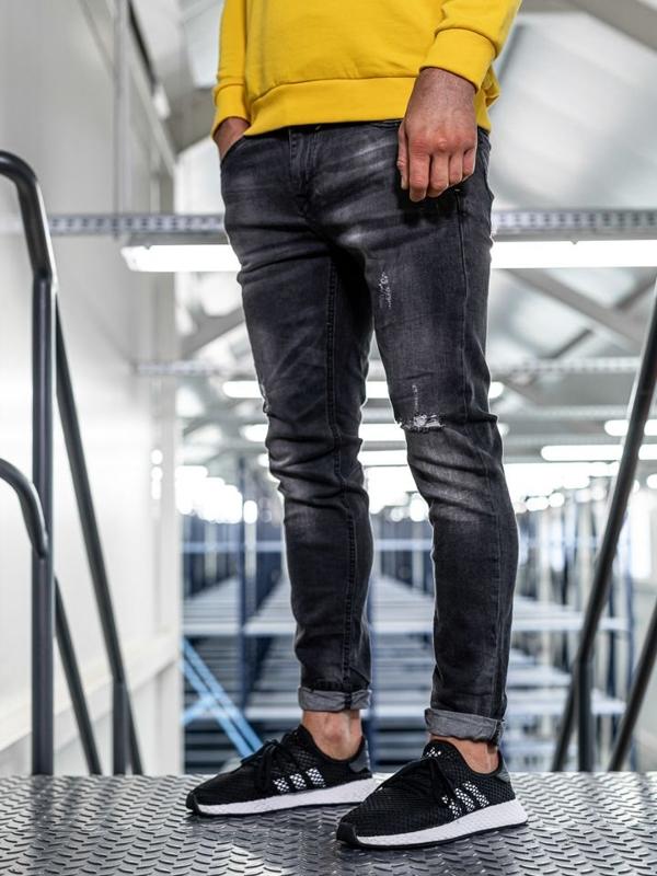 Мужские  джинсовые брюки slim fit черные Bolf KX320