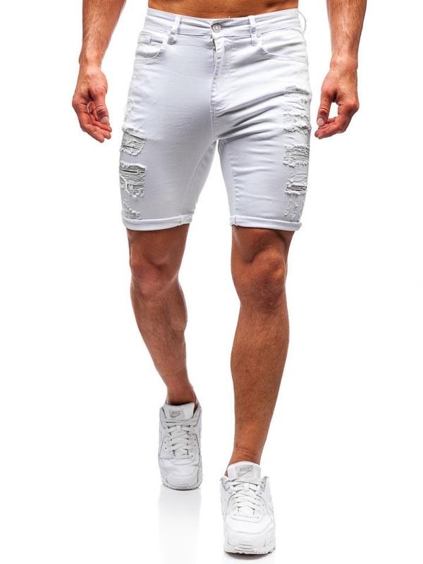 Мужские джинсовые шорты белые Bolf T392