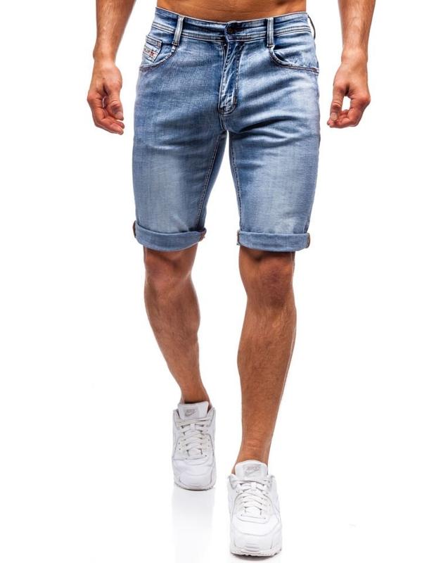 Мужские джинсовые шорты синие Bolf 7759