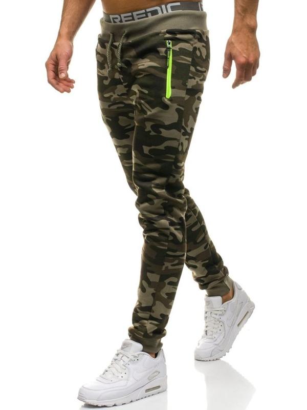 Мужские трикотажные брюки джоггеры камуфляж-зеленые Bolf JX8125