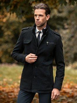 Мужское зимнее пальто черное Bolf 8856B
