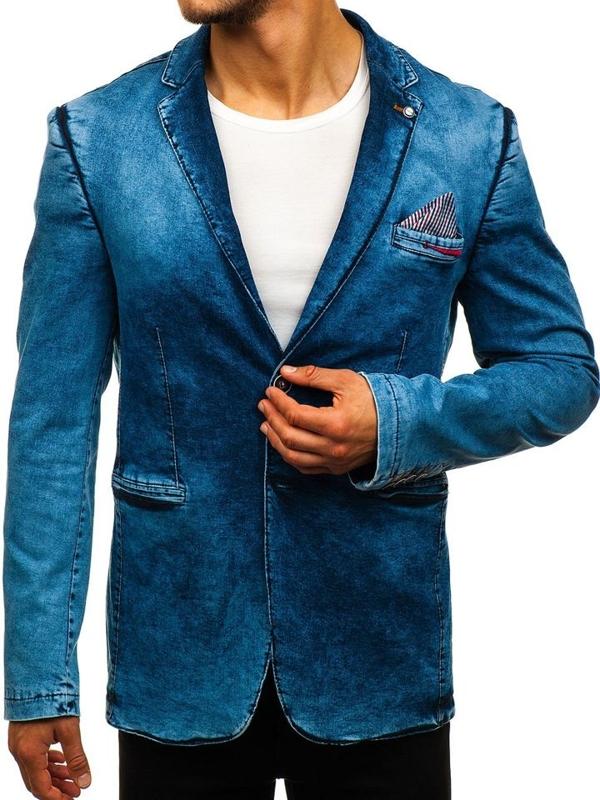 Мужской джинсовый пиджак casual темно-синий Bolf 0038