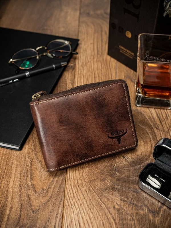 Мужской кожаный кошелек коричневый 1634