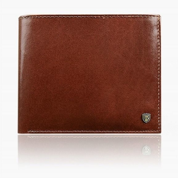Мужской кожаный кошелек коричневый 919
