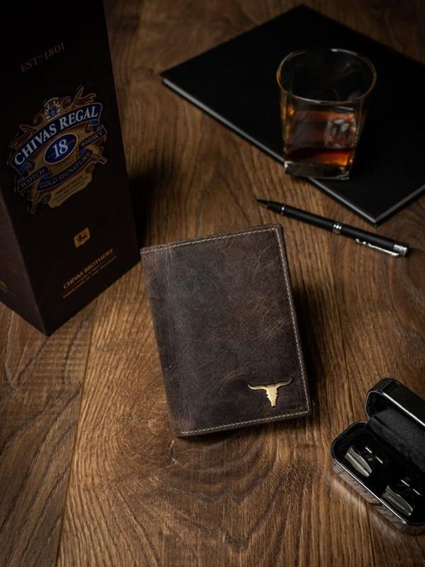 Мужской кожаный кошелек светло-коричневый 494