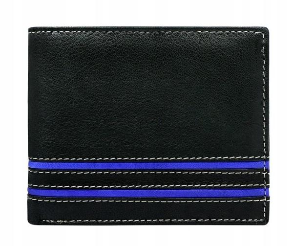 Мужской кожаный кошелек синий 580