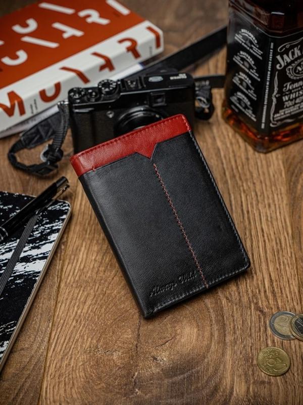 Мужской кожаный кошелек черно-красный 2053