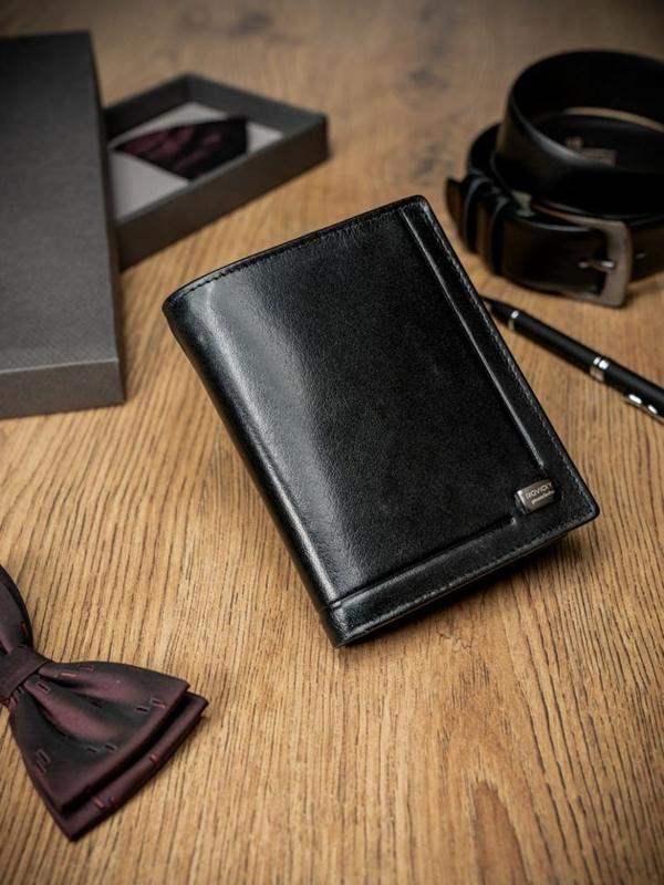 Мужской кожаный кошелек черный 170