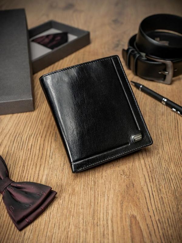 Мужской кожаный кошелек черный 234