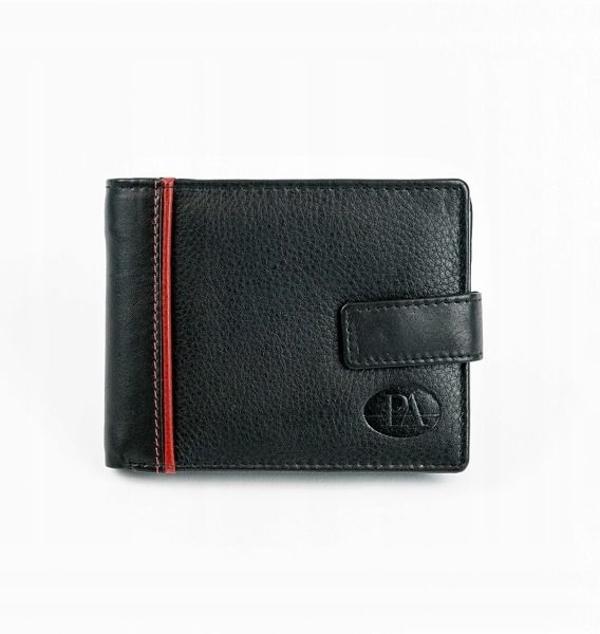 Мужской кожаный кошелек черный 872