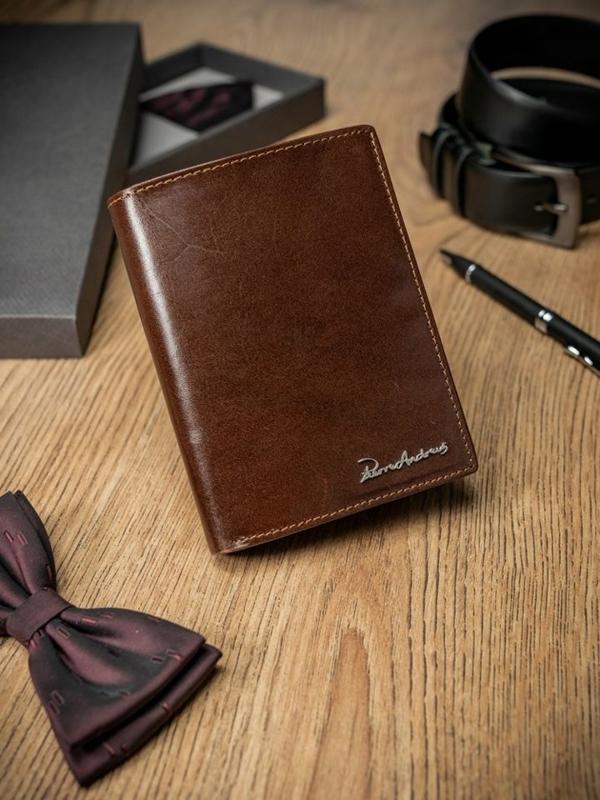 Мужской кошелек кожаный коричневый 1684