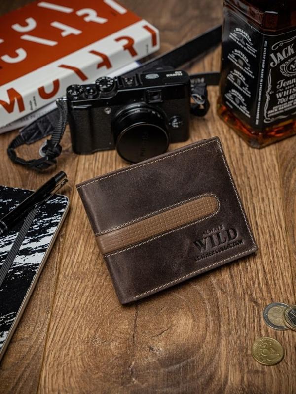 Мужской кошелек кожаный коричневый 2031