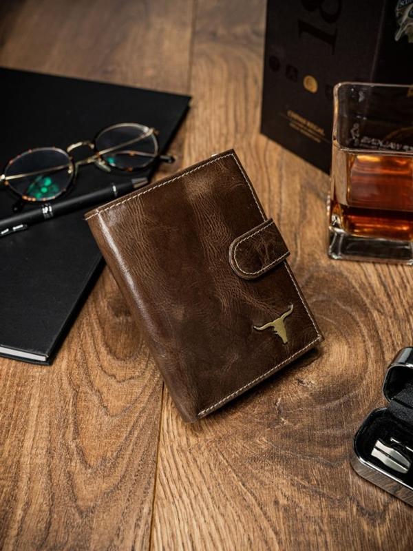 Мужской кошелек кожаный коричневый 49