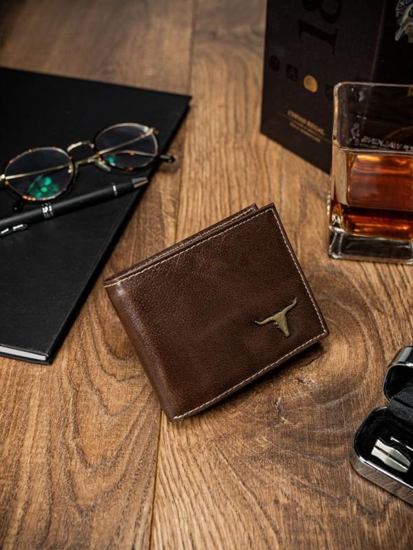 Мужской кошелек кожаный коричневый 53