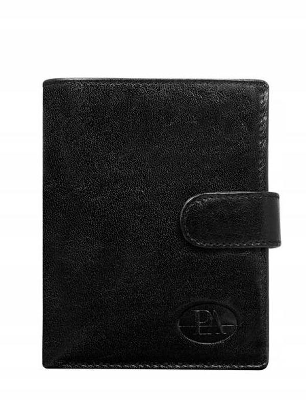 Мужской кошелек кожаный черный 104