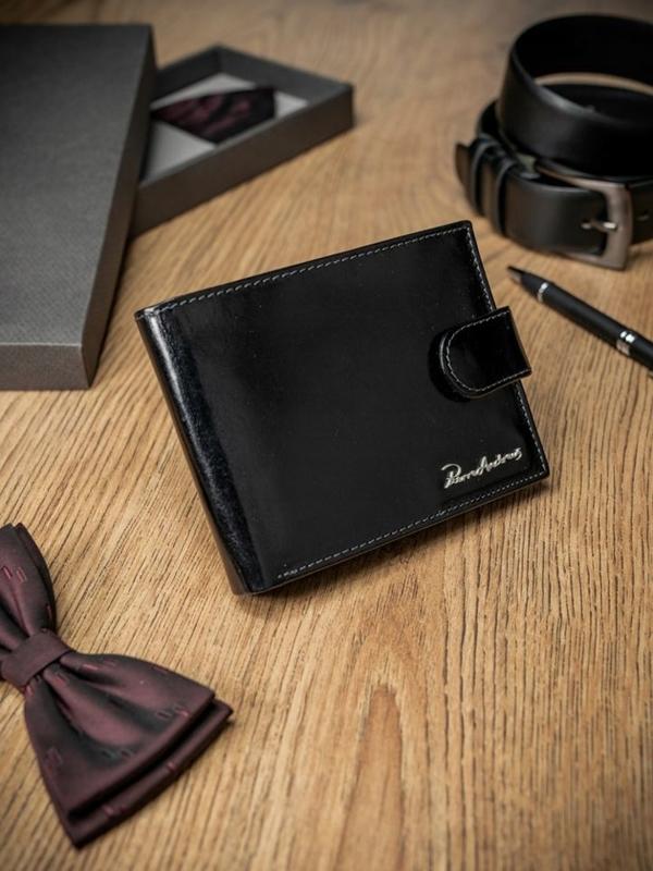 Мужской кошелек кожаный черный 1689