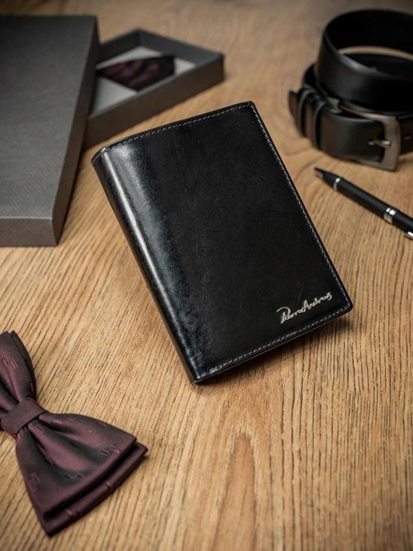 Мужской кошелек кожаный черный 1694