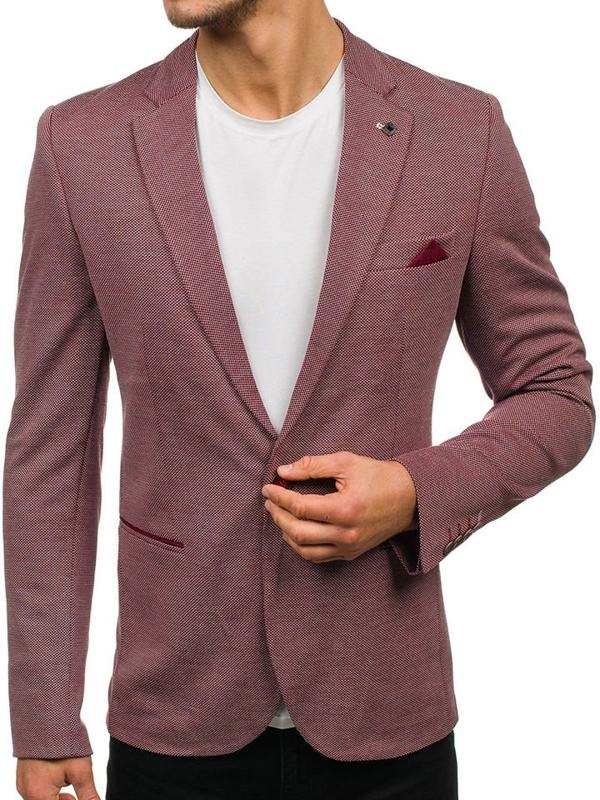 Мужской элегантный пиджак бордовый Bolf M011