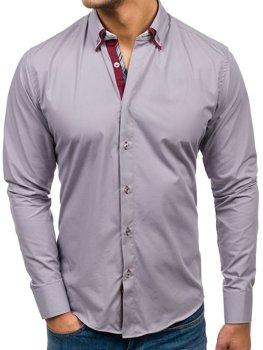 Серая мужская элегантная рубашка с длинным рукавом Bolf 5895