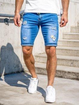 Темно-синие джинсовые мужские шорты Bolf KG3809